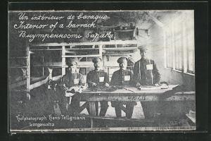 AK Langensalza, russ. Kriegsgefangene in Baracke