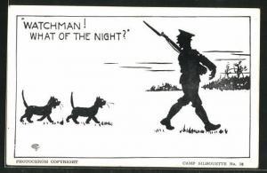AK Camp Silhouette Nr.18, Watchman! What of the Night? Scherenschnitt