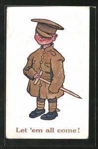 AK Kinder Kriegspropaganda, kleiner britischer Soldat mit Holzschwert, Let` em all come