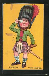 Künstler-AK Kinder Kriegspropaganda, kleiner schottischer Soldat mit Kilt, Bärenmütze und Monokel, The Colonel