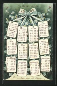 Präge-AK Kalender 1906 und Vergissmeinnicht