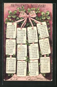 Präge-AK Kalender 1905 und Glücksklee