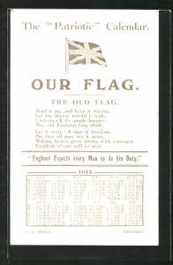 AK The Patriotic Calendar 1915, Kalender 1915
