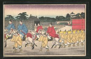 AK Von Reitern geführte japanische Sänftenträger