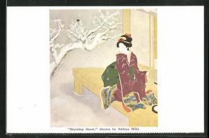 Künstler-AK Suizan Miki: Morning Snow, Japanische Frau im Kimono und schneebedeckter Baum