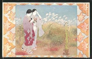 AK Fair Autumn, Zwei Japanerinnen in traditioneller Kleidung in einer Herbstlandschaft