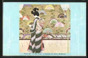 Künstler-AK Seiha Morikawa: Kinu-ogi or Silk Fans, Japanerin in traditioneller Kleidung mit Fächern