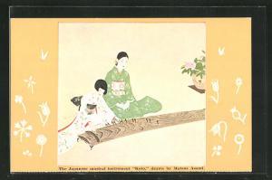 AK The Japanese musical instrument Koto, drawn by Matsue Asami, Japanerinnen in Kimonos mit Instrument