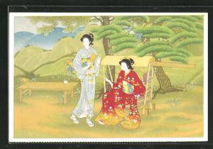 AK Zwei japanische Frauen in Kimonos in einer Sommerlandschaft