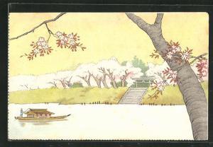 Künstler-AK Japanische Sommerlandschaft am Fluss und Boot, Japanische Kunst