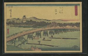 Künstler-AK Japanische Landschaft mit Booten unter einer Brücke, Japanische Kunst