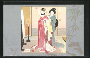 AK Heiratszeremonie, Japanerin beim Ankleiden