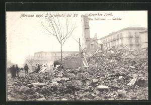 AK Messina, Terremoto del 28 dicembre 1908, Via Solferino, Rovine, Erdbeben