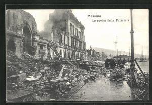 AK Messina, Le rovine della Palazzata, Zerstörungen nach dem Erdbeben