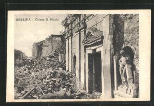 AK Messina, Chiesa S. Nicola, Zerstörungen nach dem Erdbeben