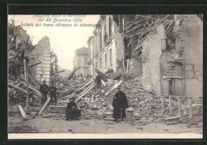 AK Messina, Terremoto del 28 dicembre 1908, Soldati del Genio all`opera di salvataggio, Zerstörungen nach dem Erdbeben