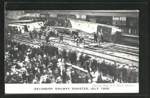 AK Salisbury, Railway Disaster July 1906, Eisenbahnkatastrophe, Unglückstelle