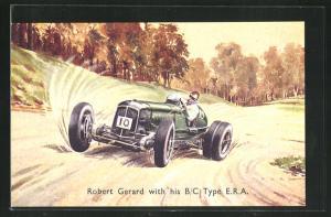 Künstler-AK Robert Gerard with his B/C Type E.R.A., Autorennen