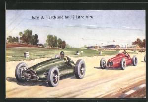 Künstler-AK John B. Heath and his 1 1 /2 Litre Alta, Autorennen