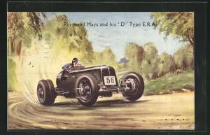 Künstler-AK Raymond Mays and his `D` Type E.R.A., Autorennen