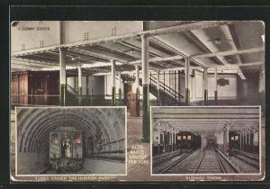 AK New York, Tubes under the Hudson River, Subway Trains, U-Bahn-Station