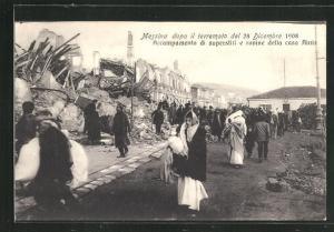 AK Messina, Erdbeben am 28.12.1908, Obdachlose vor zerstörten Häusern