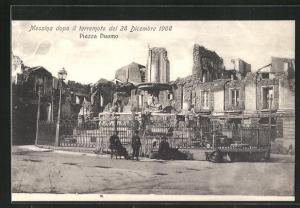 AK Messina, Erdbeben am 28.12.1908, Piazza Duomo