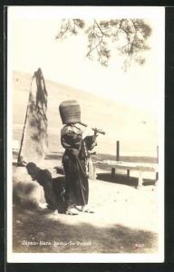 AK Japan, Nara-Komu-So Priest, Priester mit Flöte