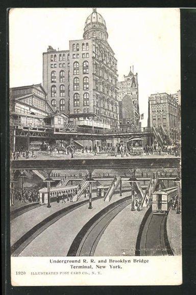 AK New York, Underground R. R. and Brooklyn Bridge Terminal, U-Bahn-Terminal 0