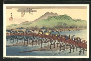 Künstler-AK Japanische Landschaft mit einer Brücke, Japanische Kunst