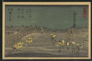 Künstler-AK Japanische Sänftenträger überqueren eine Brücke, Japanische Kunst