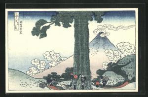 Künstler-AK Japaner hinter einem Baum und Vulkan, Japanische Kunst