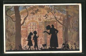 AK Hänsel und Gretel vor dem Hexenhaus