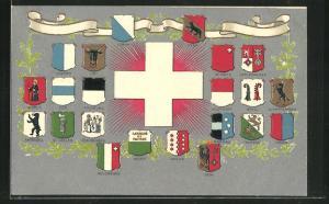Präge-AK Schweiz, Wappen von Genf, Bern und Basel