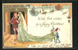 Präge-AK Little Snowwhite, Schneewittchen und der Pinz, Zwerge tragen Schneewittchens Schleppe