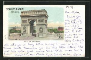 Lithographie Paris, L`Arc de Triomphe, Triumphbogen, Biscuits Parein, Anvers