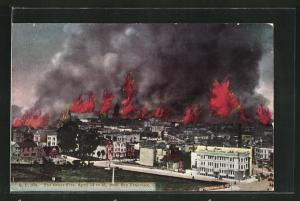 AK San Francisco, CA, The Great Fire, April 1906, Grossbrand