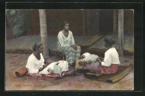 AK Ceylon, Lace making, Singhalesiche Klöpplerinnen