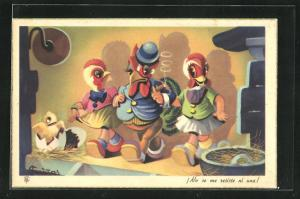 Künstler-AK Farinas: No se me resiste ni un!, Comic, Gockel und Hennen