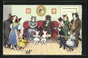 AK Katzenfamilie, Goldene Hochzeit