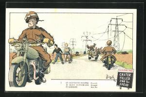 Künstler-AK Bizeth: En Allemagne Occupee, Dispatch, Soldatenhumor, Meldefahrer