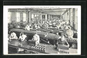 AK London-Woolwich, Siemens Brothers & Co., Telephone Manufacture, Telefonherstellung