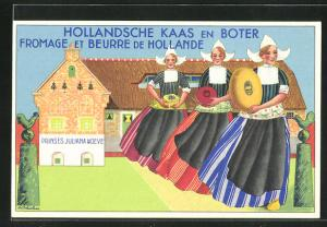 Künstler-AK Hollandsche Kaas en Boter, Käse und Butter aus Holland, Reklame