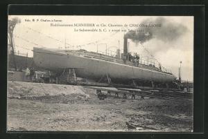 AK Chalon-s-Saone, Etablissements Schneider, Le Submersible S.C. I avant son lancement, U-Boot