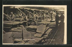 AK Greaves`s Slate Quarries, Sawing Tables, Schiefer-Steinbruch