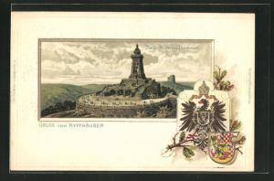 Passepartout-Lithographie Kyffhäuser, Kaiser-Wilhelm-Denkmal, Wappen