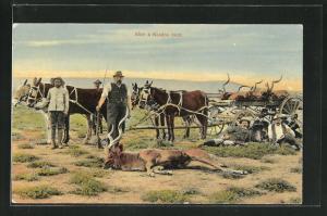 AK After a Koodoo hunt, Grosswildjäger mit erlegter Kudu-Antilope