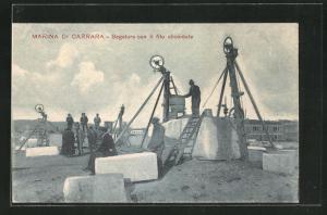 AK Marina di Carrara, Steinbruch, Segatura con il filo elicoidale, Marmor
