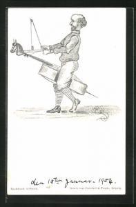 AK Streichinstrument, Mann reitet auf einem Instrument