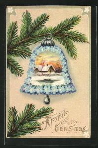 AK Blumenbild, Glocke mit winterlicher Landschaft hängt an Tannenzweig